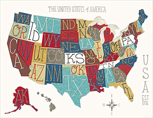 Design Design Fifty States Map Note Cards 20 Count 118-07409 (Map Note Card)
