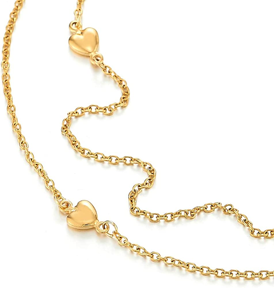 COOLSTEELANDBEYOND Acier Femme Couleur dor Deux Rangs Cha/îne Maillons Bracelets de Cheville avec Coeur Charms et Grelot R/églable