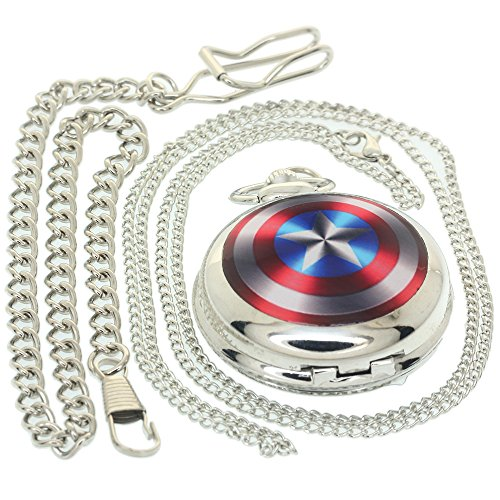 (Captain America Quartz Watch Necklace for Men Boys Star Silver Metal Case Flip Fob Chain Silver Alloy Shell American Quartz Pocket Watches Gift Clock 1 PC Necklace 1 PC Clip Key Rib Chain)