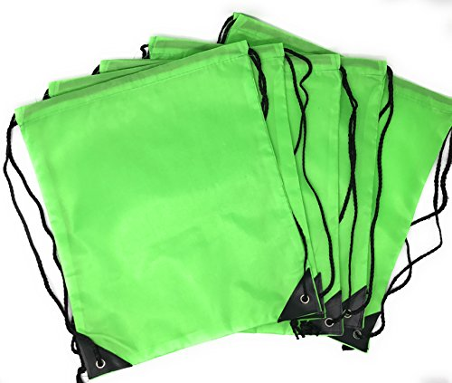 20 x Bulk Drawstring Backpack - Sports Bag Cinch Sack (Green) - Bag Gym Notre Dame