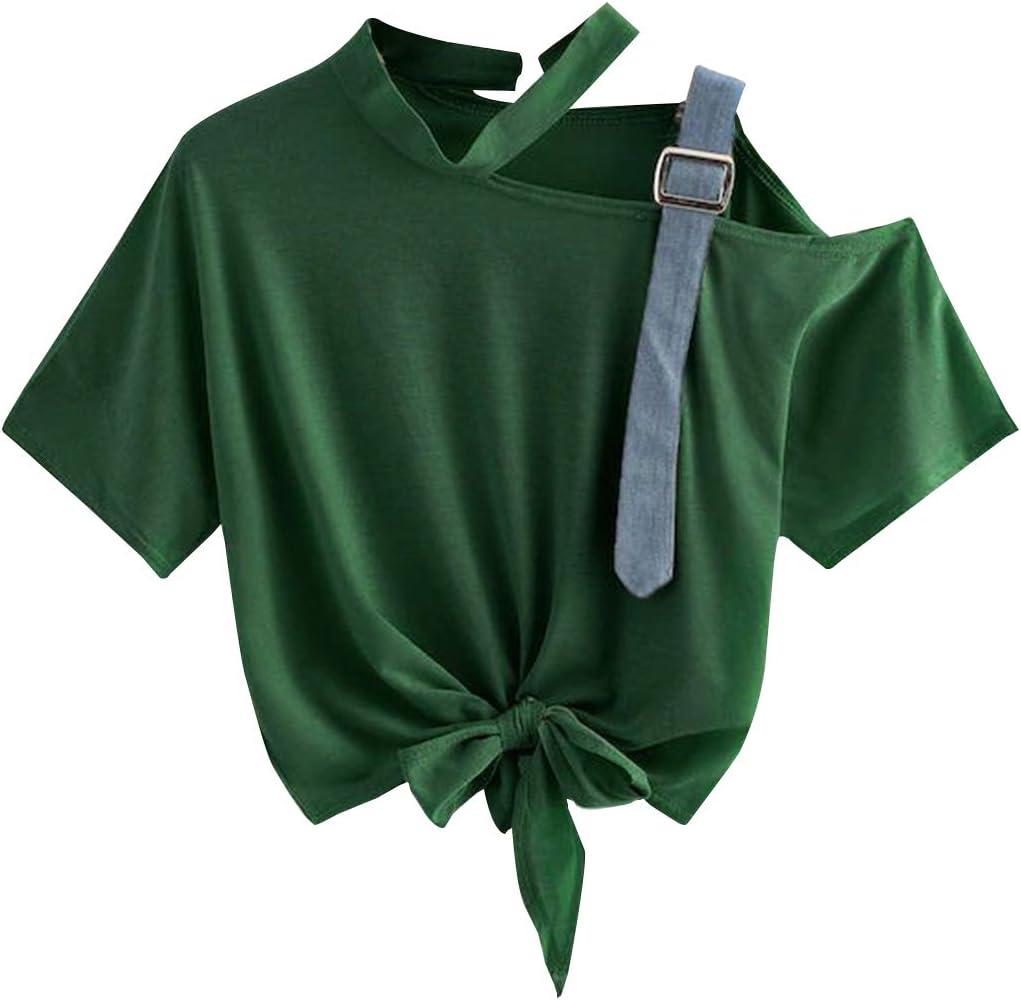 Teenager M/ädchen Mode Tie Up Bauchfrei Oberteile Sport Off Shoulder Blusen Shirt Hemd Frauen Kurzarm Schulterfrei T-Shirts Tops Pullover Sale Siennaa Crop Tops Damen Sommer