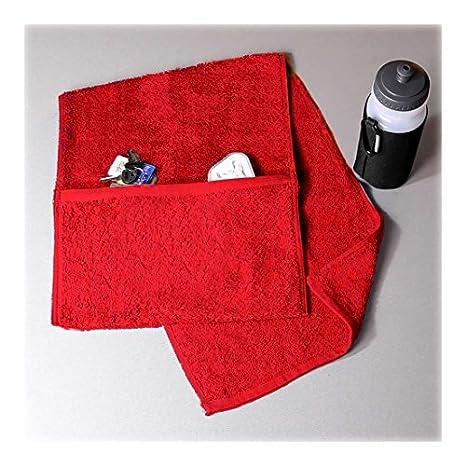 Toalla de gimnasio de lujo Aztex con compartimento con cremallera, 100% algodón rojo: Amazon.es: Hogar
