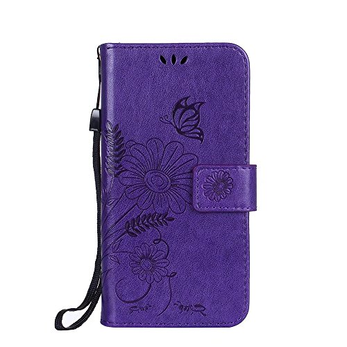 Hülle für iPhone 7 ,Schutzhülle Für IPhone 7 Premium PU Leder Folio Stand Solid Farbe Präge Blumen Muster Schutzhülle Tasche Tasche Cover ,cover für apple iPhone 7,case for iphone 7 ( Color : Modena )