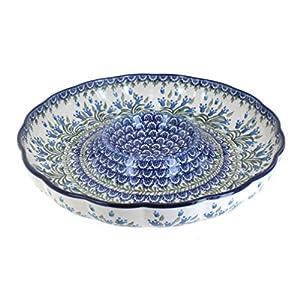 Blue Rose Polish Pottery Tulip Bouquet Chip & Dip Plate
