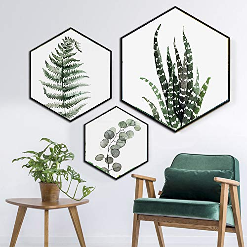 Canvas Wall Art Succulent Wall Decor 3 Pieces Tropical Palm Green Leaves Paintings Simple Wall Picture Set for Giclee Prints Canvas Art for Wall Decor ()