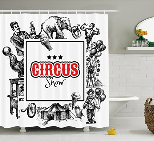 Ambesonne Vintage Shower Curtain, Circus Show Logo with...