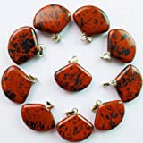 Beautiful 10pcs Mahogany Obsidian Fan-shaped Pendant Bead Send Randomly