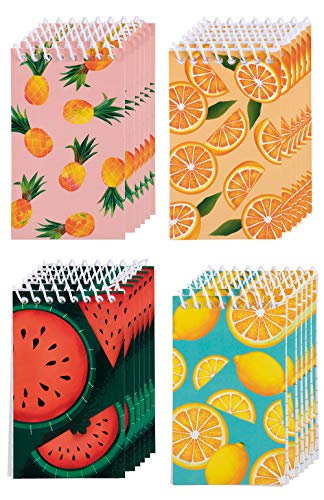 Spiral Notepad - 24-Pack Top Spiral Notebooks, Bulk Mini Spiral Notepads for Note Taking, to-do Lists, Kids Party Favors, Lined Paper, 4 Fruits Designs, 3 x 5 Inches