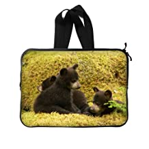 """Funny Laptop Bag - 13"""" (Twin Sides) Black Bear Family In The Forest Laptop/ Notebook Computer/MacBook /MacBook Pro/MacBook Air Sleeve Bag Cover"""