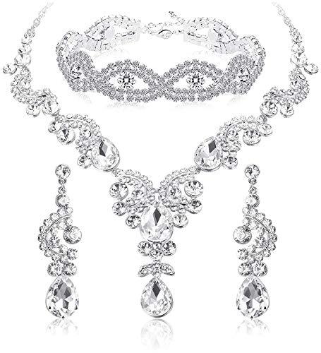 (ORAZIO Crystal Wedding Bridal Jewelry Set for Women Rhinestone Necklace Dangle Earring Bracelet for Bride Bridemaids (D:Clear Silver-Tone Necklace Bracelet Earrings))