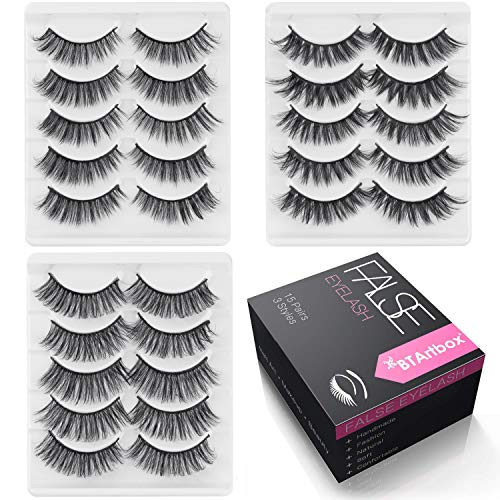 Natural Fake Eyelashes Set - 3D Cross False Eyelashes Pack 15 Pairs 3 Styles Reuseable Eyelashes BTArtbox Soft Wispies Eyes Lashes Pack, J-01 (Best Fake Lashes For Small Eyes)