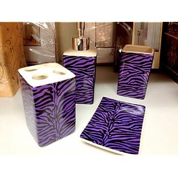 Amazon.com: Purple Zebra Print Ceramic Bathroom Set 4 ...