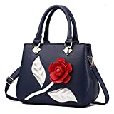 Tibes Fashion PU Leather Handbag Women Party Tote Wedding Purse Satchel Deep Blue