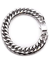 Thick Silver Bracelet For Men - Stainless Steel Cuban Link + Gift Bag