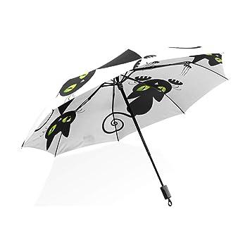 ISAOA Paraguas de Viaje automático Compacto Plegable Paraguas Gatos Diferentes acciones Resistente al Viento Ultra Ligero UV protección Paraguas para ...