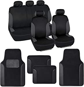 BDK Combo Double Trim Car Seat Covers (2 Front 1 Bench) Auto Carpet Floor Mats (4 Set) with Heavy Protection Sleek Graphic Two Tone Fresh Design All Protective - Black Accent