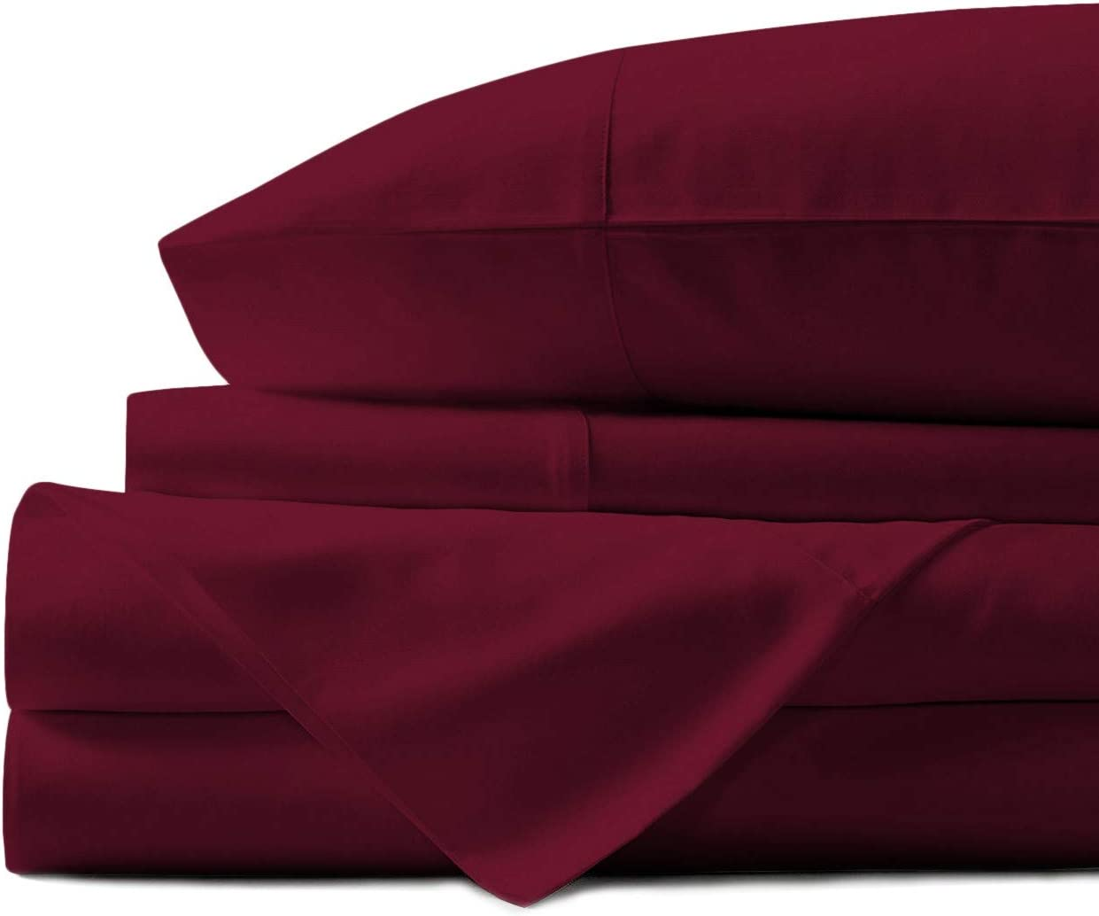 Mayfair Linen 100% Egyptian Cotton Sheets, Burgundy Twin Sheets Set, 800 Thread Count Long Staple Cotton, Sateen Weave for Soft and Silky Feel, Fits Mattress Upto 18'' DEEP Pocket