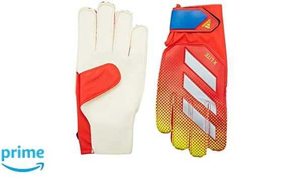49b83f9001 adidas X Lite Goalkeeper Gloves, Active Red/Solar Yellow/Football Blue,  Size 8