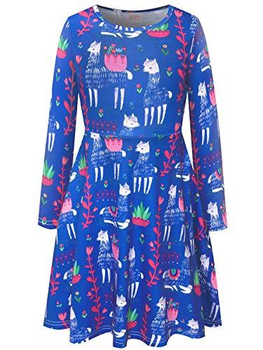 Bonny Billy Girls' Fall-Winter Alpaca Long Sleeve Dress Size 5-6 Navy Blue