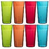 Bellevue Restaurant-quality Plastic 20oz Cafe Beverage Tumblers   Set of 16 in 4 Assorted Colors
