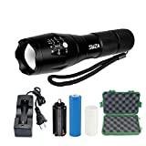 LED Tactical Flashlight SWZA Tac Light T6 Brightest LED Flashlight Handheld Torch with 5 Modes Adjustable Focus Rechargeable 18650 Lithium Battery AC Charger Carry Case Included