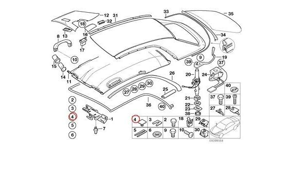 Amazon BMW Genuine Hardtop Parts Front M Trim Rear Fastener M6 320i 323ci 323i 325ci 325i 325xi 328i 330ci 330i 330xi M3 Automotive: 2000 BMW 323i Parts Diagram At Teydeco.co