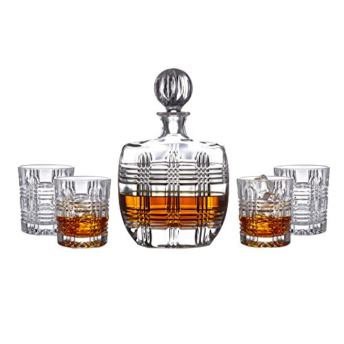 Fitz And Floyd Bridgeport 5-piece Crystal Whiskey Barware Decanter Set With 4 Double Old Fashioned Glasses - 4 Piece Old Fashioned Glass