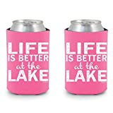 Shop4Ever Life is Better at the Lake Can Coolie Sayings Drink Coolers Coolies Neon Pink - 2 Pack