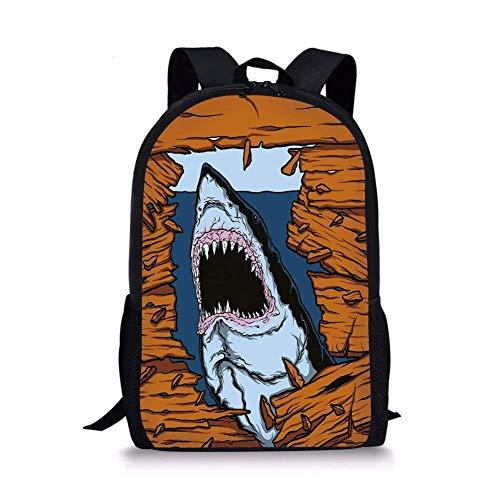 Shark Caves Fun Fish - School Bags Shark,Wild Fish Breaking Wooden Plank Danger Sign Killer Creature Fun Illustration,Ginger Dark Blue for Boys&Girls Mens Sport Daypack