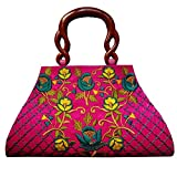 Partywear Designer Evening Embroidered Clutch Purse Sling Bridal Wedding Clutch Handbag Purse For Women Girls Stylish Branded With Handle Sequined Beaded Thread Work By Krushh ON SALE!!!! (Pink)