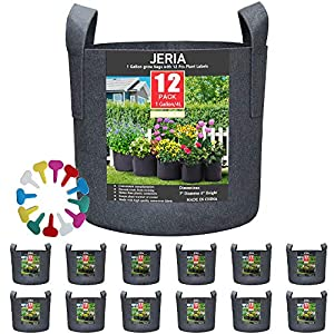 JERIA 12-Pack 1 Gallon, Vegetable/Flower/Plant Grow Bags, Aeration Fabric Pots with Handles (Black)