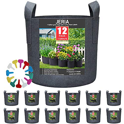 JERIA 12-Pack 1 Gallon, Vegetable/Flower/Plant Grow Bags, Aeration Fabric Pots with Handles (Black), Come with 12 Pcs Plant Labels