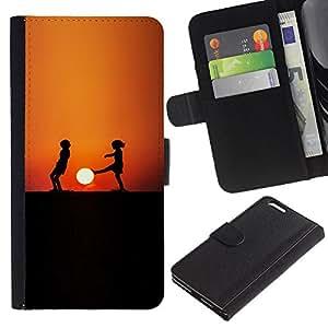 KLONGSHOP // Tirón de la caja Cartera de cuero con ranuras para tarjetas - Sunset Niños - Apple Iphone 6 PLUS 5.5 //