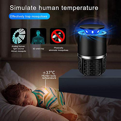 Huahua - Lámpara antimosquitos, usblámpara mosquitera con 360 ° UV LED, con ventosa dispersor, para moscas y mosquitos, para casa, oficina, patio, cocina, Negro
