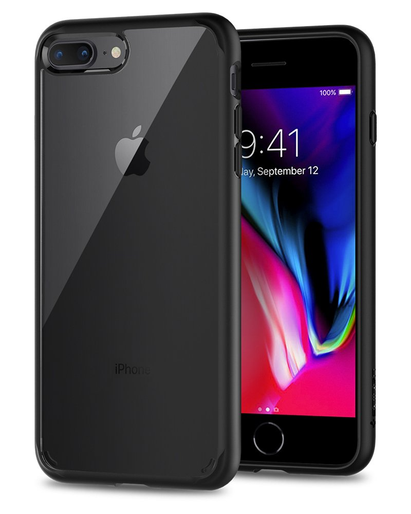Spigen Ultra Hybrid [2nd Generation] iPhone 7 Plus Case/iPhone 8 Plus Case with Clear Backing and Air Cushion Technology for iPhone 7 Plus (2016)/iPhone 8 Plus (2017) - Black