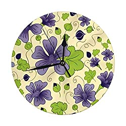 YILINGER Modern Wall Clock Large 9.8 Inch Mallow Blue Flowers and Leaves Digital Round Clock
