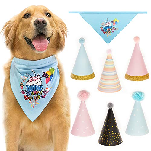 CHERPET Dog Bandana Birthday Triangular Scarf Printed with 6 pcs Cute Happy Party Hats Soft Cotton Great Doggie Bandanas Outfit Decoration Set Perfect for Puppy Kittens Supplies,Pink & Blue -