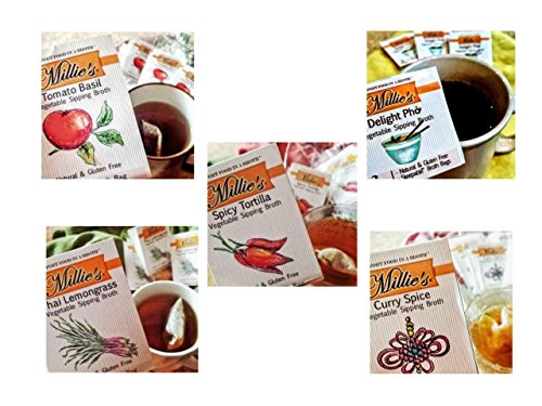 Millie's Sipping Broth Variety 5-Pack - Curry Spice, Spicy Tortilla, Thai Lemongrass, Tomato Basil and Delight Pho.
