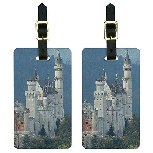 Graphics and More Allgau Neuschwanstein Fairy Castle Mountains Luggage Tags Suitcase ID Set of 2