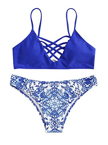 SweatyRocks Women's Bathing Suit Adjustable Spaghetti Strap Porcelain Print Criss Cross Bikini Set Blue M