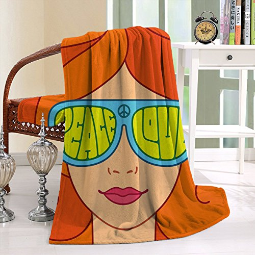 HAIXIA Blanket 70s Red Hair Girl Sunglasses Retro Typography Hippie Love and - Mink Sunglasses