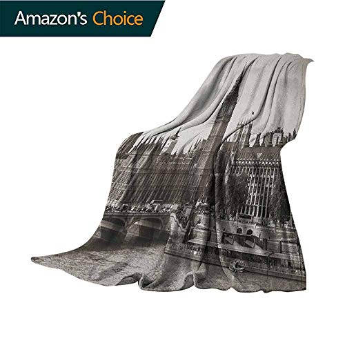 London Furry Blanket,Westminster with Big Ben and Bridge Nostalgic Image British Antique Architecture for Bed & Couch Sofa Easy Care,30