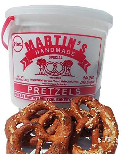 Martin's Handmade, Hand Twisted Pretzels with Salt- 21 oz. Tub (2 Tubs)