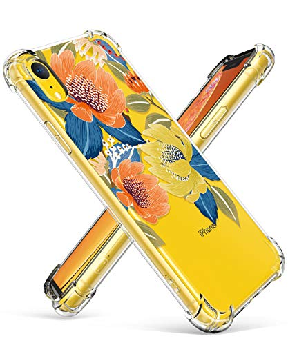 GVIEWIN Case for iPhone XR, Clear Flower Pattern Design Soft & Flexible TPU Ultra-Thin Shockproof Transparent Girls and Women Floral Cover, Cases for iPhone XR 2018 (Flower ()