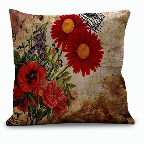 18 x 18 Inches Red Gerbera Flower Throw Pillow Covers Accent Pillows Farmhouse Decor Pillow Covers for Sofa