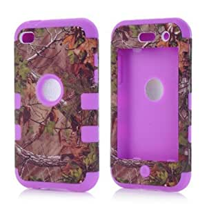 SHHR-ZW28N Luxury 3 in 1 Tree Camo Design Hybrid case for iPod Touch 4th Generation-Purple Silicone
