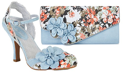 Ruby Shoo Women's Sky Blue Floral Heidi Fabric Slingback Pumps & Rio Bag UK 8 EU 41 by Ruby Shoo