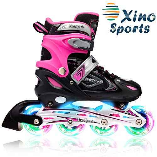 XinoSports Inline Roller Skates with Light Up Illuminating Wheels, for Growing Girls and Boys Ages 5-20 ... (Black/Pink, Youth Big Kid Large - 5-8)