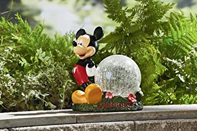 "Decorative Home Garden Lighting Decor Rock Statue - 10.5"" DISNEY MICKEY MOUSE GLAZED BALL WITH LED TIMER LIGHT- Landscape Cute Designed Outdoor Front yard Backyard Patio Deck Porch Clear Cracle Glass Globe-Character Themed-Beautiful Way to add accent to y"