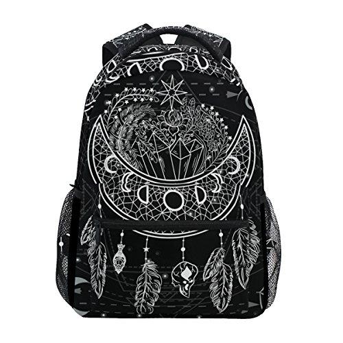 U LIFE Backpack School Bags Laptop Casual Bag for Boys Girls Kids Men Women Black Vintage Moon Sun Mandala Floral - Sun Girls Life